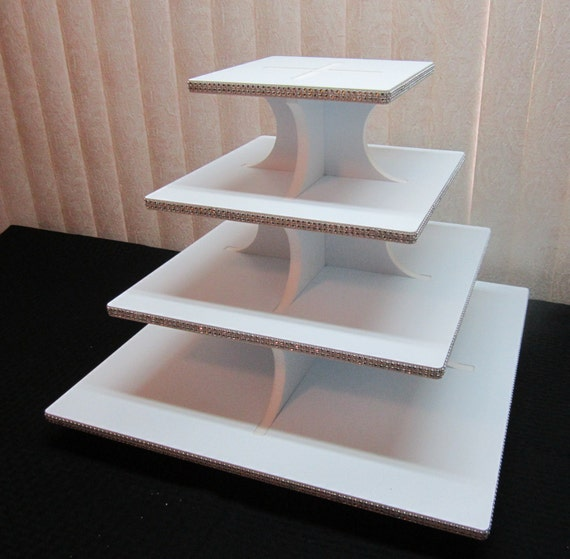 how to make a 4 tier square wedding cake 4 tier square or petal cupcake stand by classycakestands 15788