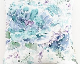 Blue Watercolor Pillow Cover, Blue Ocean Handpainted Floral, unique Pillow Case, Watercolor Sham Handmade in Canada, Linen Throw Pillowcase