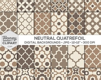 Digital Patterns: neutral backgrounds, seamless quatrefoil, brown paper designs, moroccan wallpapers, circle graphics, tan, beige, taupe