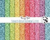 50% OFF Seamless Bright Rainbow Glitter Digital Paper Set - Personal & Commercial Use