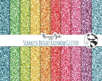 Seamless Bright Rainbow Glitter Digital Paper Set - Personal & Commercial Use