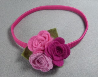 Pink Flower Headband - Felt Flower Headband - Baby Headband - Girls Headband - Head Band -Infant Headband -Womens Headband -Elastic Headband