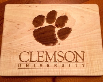 CLEMSON TIGER PAW  Cutting Board, Personalized Clemson Cutting Board,