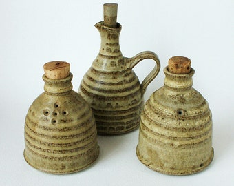 Waterdine Studio Pottery - Salt & Pepper Cellars - Vinegar Jugs - Welsh Pottery Llanfair Wales - 1960s - 1970s