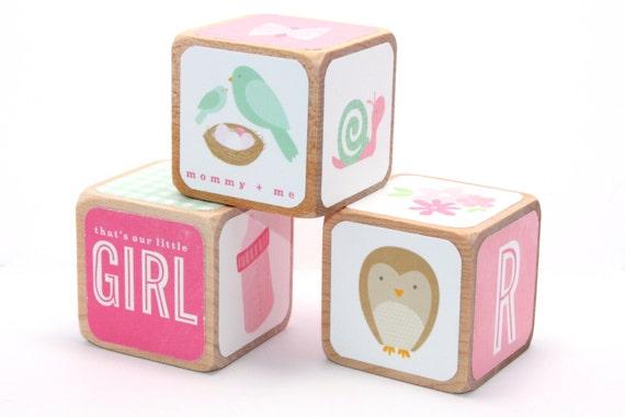 Baby Girl Nursery Wooden Baby Blocks Pink Decor Owl