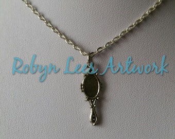 Small Silver Hand Mirror Charm Necklace on Silver Crossed Chain or Black Faux Suede Cord, Beauty