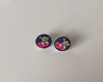 Wooden Cherry Earrings - 1x pair of wooden earrings with Cherry design - 10mm wood disc with cherries painted on set on surgical steel posts