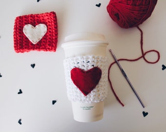 Valentines Day Crochet Coffee Cup Cozy