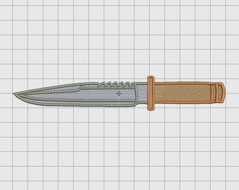 Combat Tactical Knife Embroidery Design in 4x4 5x5 6x6 and 7x7 Sizes