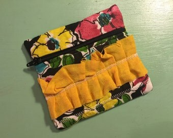 Black Floral & Ruffle Zipper Pouch