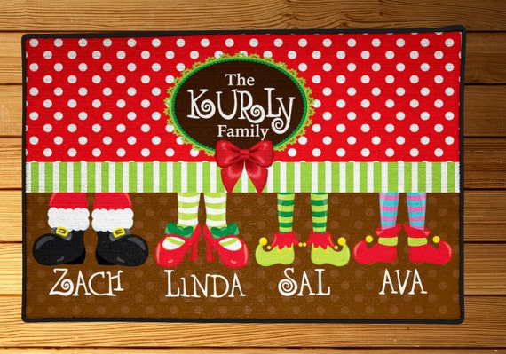 Personalized Christmas Feet Floormat, 18x30 custom holiday doormats, any personalized, family room decor, holiday mats, christmas decor