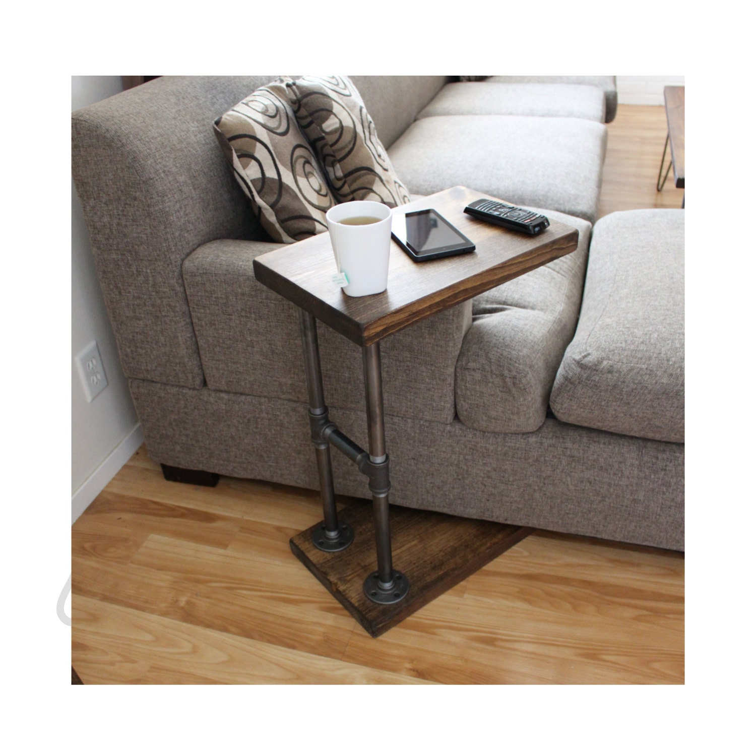 Industrial furniture coffee table side table laptop stand for Side table for sectional sofa