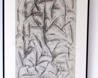 Abraham Walkowitz Signed Framed & Dated Abstract Graphite Original 1913