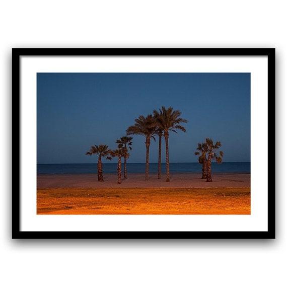 Beach Photography, Fine Art Photo, Beach Decor, Palm Tree, Romantic Prints, Landscape, 5x7-11-14, Blue Brown Red Orange, Coastal Photograph