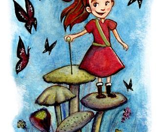 Flower Warrior, Watercolor Art Print- unframed