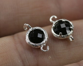 2 pcs  13 x 8 mm bezel gemstone (glass) connector silver plated 2 loops 901
