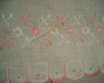 "Vintage Shabby Bureau Scarf Table Runner Pink and White 13"" x 50"" Shabby Cottage Chic Sweet Pink Floral Design"