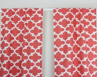 Coral Curtain Panels Coral Nursery Curtains Coral Quatrefoil Curtain Panels Nursery Curtains Coral and White Quatrefoil Curtains Set of 2