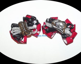 Puppy Bows ~Cowboy hat or boots red black silver dog bow  pet bands, hair clip or  barrette