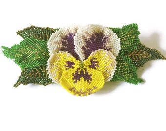 Hand Beaded Pansy Flower Hair Clip With Beaded Leaves