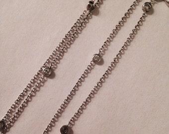 Vintage Sterling Silver Multi-Strand Rhinestone Necklace
