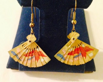 Vintage Asian Inspired Fan Dangle Earrings