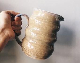 Wavy Pitcher in Ivory Crystal | Handmade Ceramics | Nettie Christine