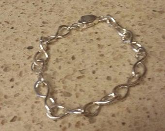 Hand made fine silver chain bracelet