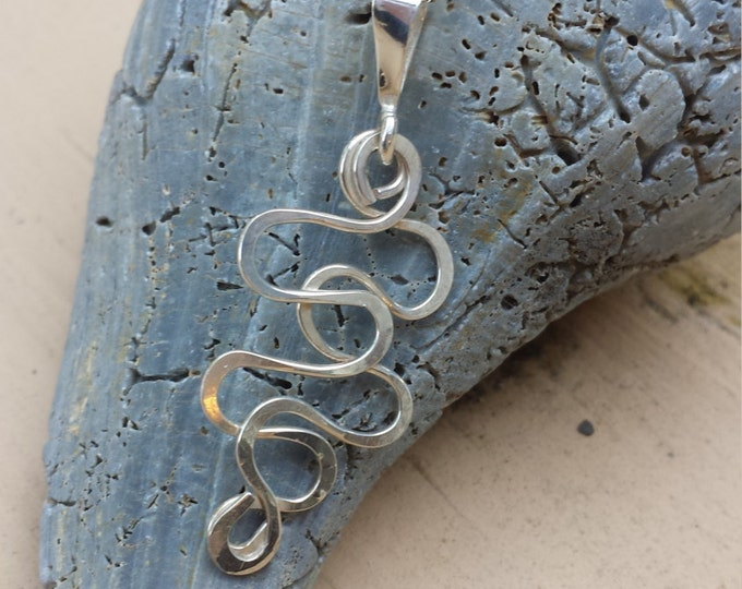 Squiggle sterling silver pendant