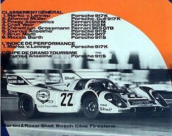 Vintage 1971 Porsche Le mans Motor Racing Poster A3 Print