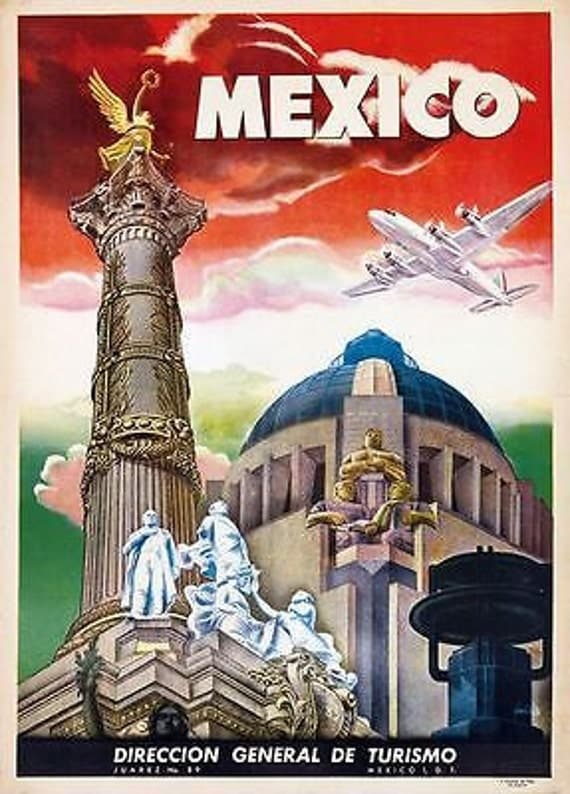 Vintage Mexico Travel Poster A3 Print