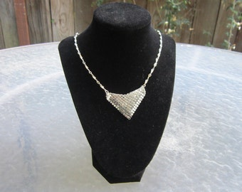 Beautiful Hobe vintage new old stock silver mesh bib necklace - estate jewelry