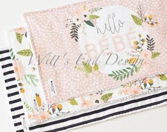 Modern Cotton Chenille Burp Cloths-Set of 3-Blush Blooms Set