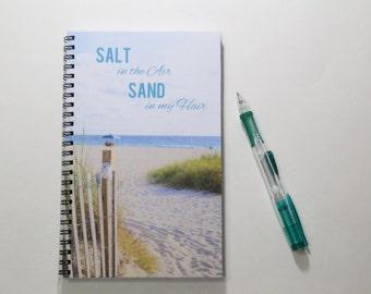 Beach Spiral Bound Journal, Blank Paper Notebook,  Sketch book, Summer Diary, Adventure log, Handmade Journal, Custom Notebook
