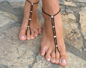 Black and rhinestone barefoot sandals.yoga anklet..wedding barefoot sandals..beaded barefoot sandals.bridesmaid gift..pearls anklets..bride
