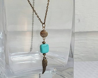 Long Chain Antique Brass Necklace Turquoise Magnesite Angel Wing Charm