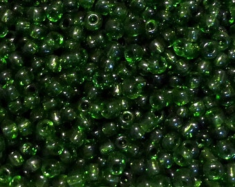 50g Glass Seed Beads - Size 6/0 - Approx 4mm - Jewellery Making - Rocailles - Dark Green - Transparent - GSB30