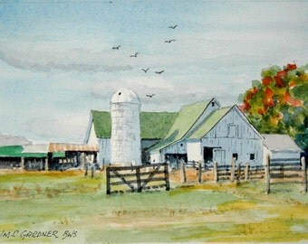 "Rural Farm Scene limited edition watercolor print   matted to 8"" x 10"" barn, landscape"