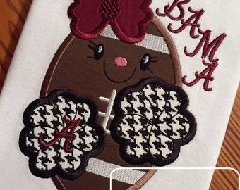 Football Girl Cheerleader Applique Embroidery Design - football appliqué design - cheerleader appliqué design