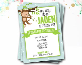 Monkey Birthday Invitation, Swinging Monkey, Monkey Invitation, Monkey Party, First Birthday, Kids Birthday, DIY Printable