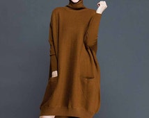 High collar knitted skirt / Knitwear / Long sleeve sweater / comfortable batwing-sleeved blouse / Pullover / Fashion dress