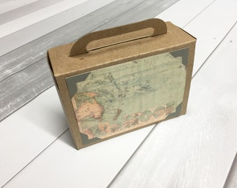 Suitcase Favor Box Suitcase Favors Suitcase Wedding Favors Destination Wedding Favor Wedding Vintage Map Kraft Large Size 25 Included
