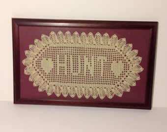 """Vintage Knitted """"HUNT"""" Frame/Sign.  Hearts.  Very cool for that hunter gatherer in you!  One-of-a-kind."""
