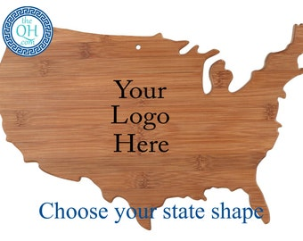 10 State Shape Personalized Cutting Boards Custom Engraved Corporate Logo Company Customer Appreciation Employee Performance Award Gift