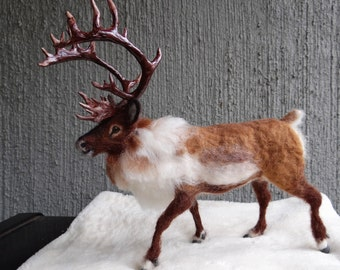 Reindeer, Caribou Needle Felted Wool Animal  Created by Carol Rossi Just For You!