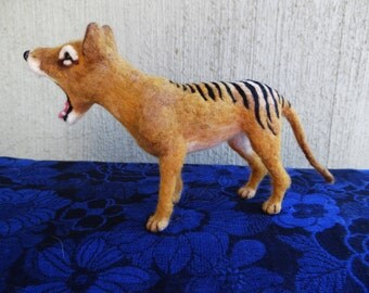 Thylacine Tasmanian Tiger Dog Needle Felted Wool Animal  by Carol Rossi Created Just For You!