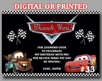 Disney Cars Thank You Cards YOU Print Digital File or PRINTED