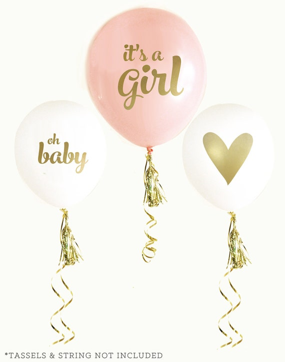 Baby Shower Balloons Pink Oh Baby Girl or Blue Oh Baby Boy