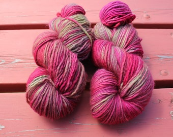 Vintage Wine Hand Dyed Yarn Single Ply Heavy Worsted Yarn