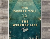 Life Aquatic - Wes Anderson Poster - Vintage Style Magazine Print movie quotes Cinema Studio Watercolor Background - Pick your Size